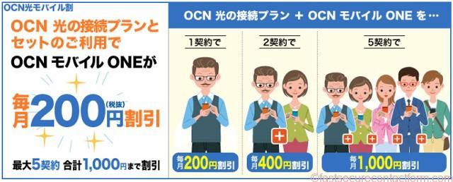 スマホ同時契約との割引・OCN光とOCNモバイルONEのセット契約