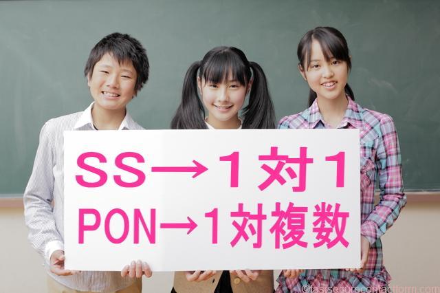 一対一でつなげるか、一対複数でつなげるかということで、SSとPONに分かれています。